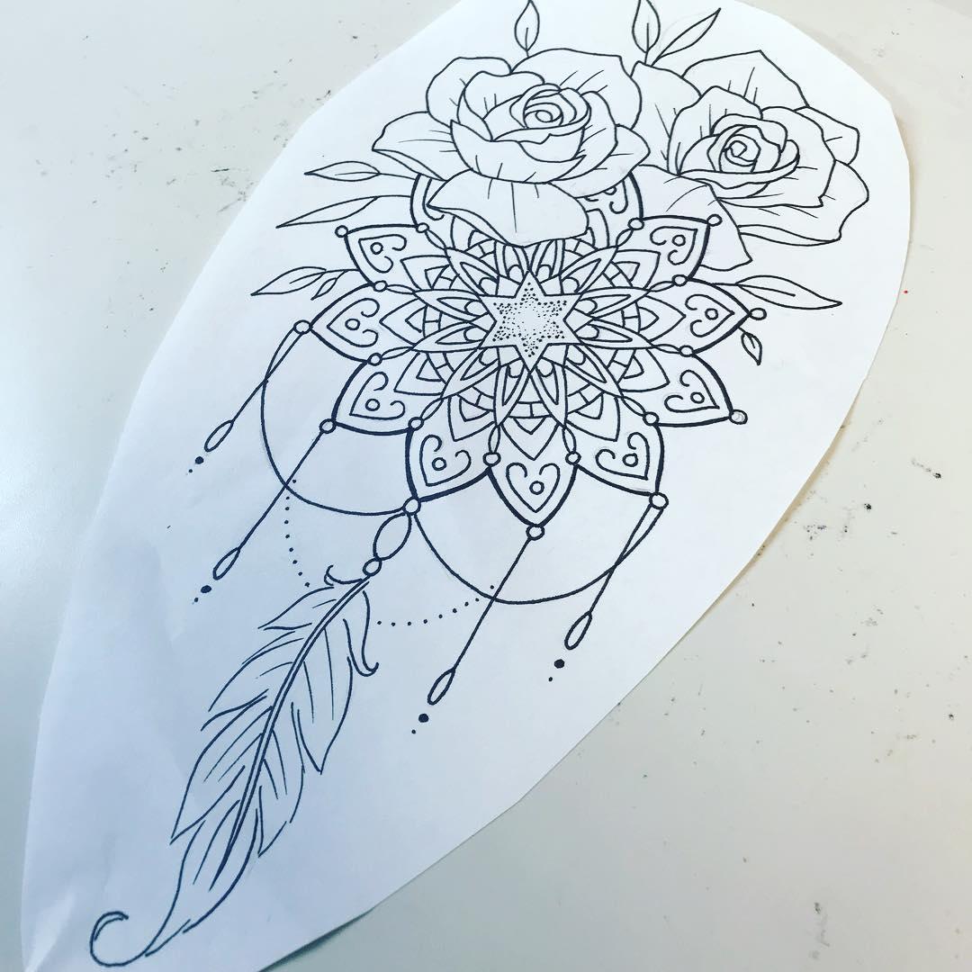 做瑜伽教练的贺小姐玫瑰梵花纹身手稿